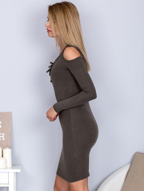 Sukienka damska z wycięciami i dekoltem lace up khaki                              zdj.                              3