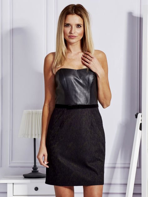 Sukienka damska ze skórzanym modułem i koronką czarna