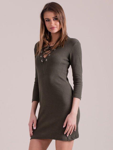 Sukienka dopasowana lace up khaki                              zdj.                              3