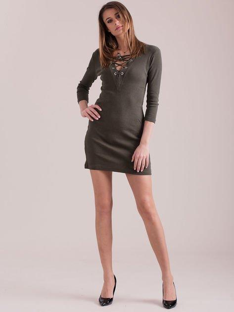 Sukienka dopasowana lace up khaki                              zdj.                              4