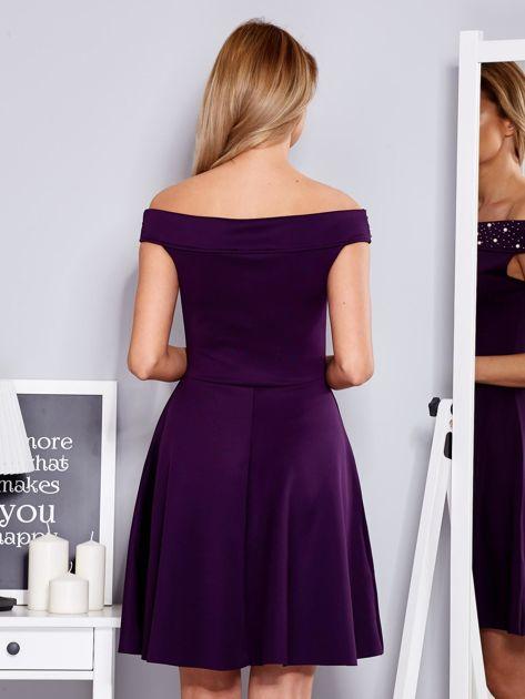 Sukienka fioletowa z perełkami                              zdj.                              2