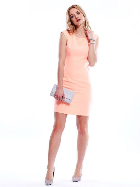 Sukienka fluo pomarańczowa z wiązaniem z tyłu                              zdj.                              4