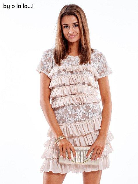 Sukienka jasnoróżowa z falbanami BY O LA LA                               zdj.                              8