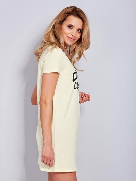 Sukienka jasnożółta bawełniana z napisem COLLEGE                                  zdj.                                  6
