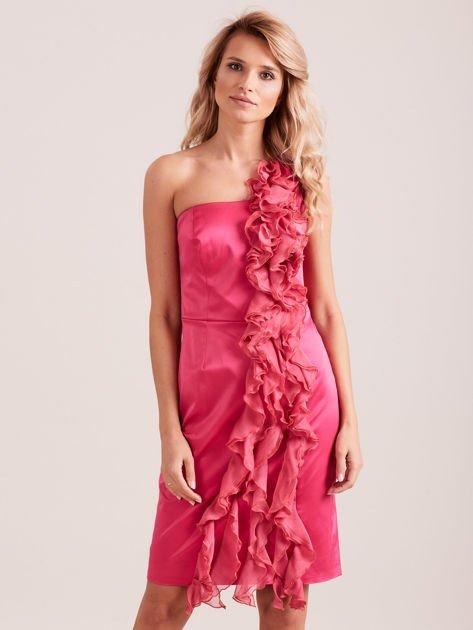 Sukienka koktajlowa na jedno ramię fuksjowa