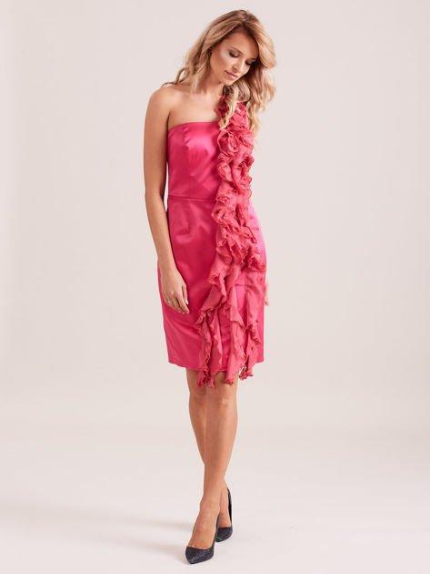 Sukienka koktajlowa na jedno ramię fuksjowa                              zdj.                              4