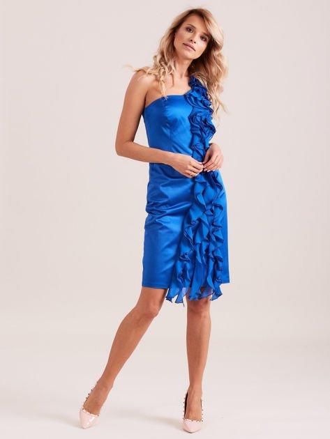Sukienka koktajlowa na jedno ramię kobaltowa                              zdj.                              4