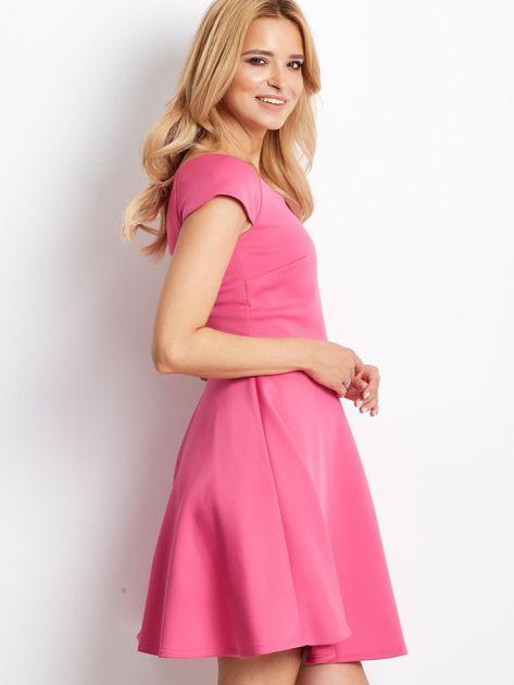 Sukienka koktajlowa z błyszczącym paskiem różowa                                  zdj.                                  2