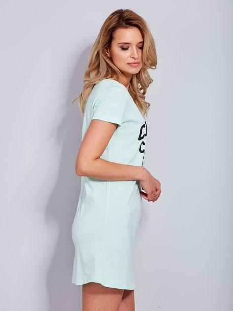 Sukienka miętowa bawełniana z napisem COLLEGE                              zdj.                              5