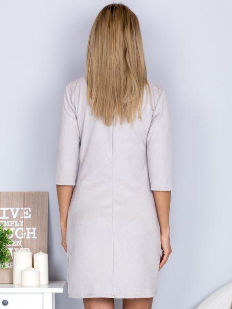 Sukienka o zamszowej fakturze jasnoszara                                  zdj.                                  2