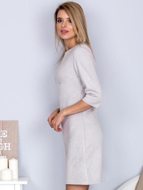 Sukienka o zamszowej fakturze jasnoszara                              zdj.                              3