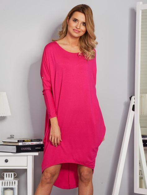 Sukienka oversize z dłuższym tyłem malinowa                                  zdj.                                  1