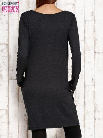 Sukienka z błyszczącą aplikacją ciemnoszara                                  zdj.                                  4