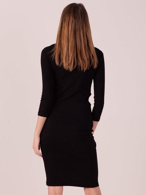 Sukienka z bocznymi wycięciami czarna                              zdj.                              3