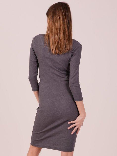 Sukienka z bocznymi wycięciami szara                              zdj.                              3