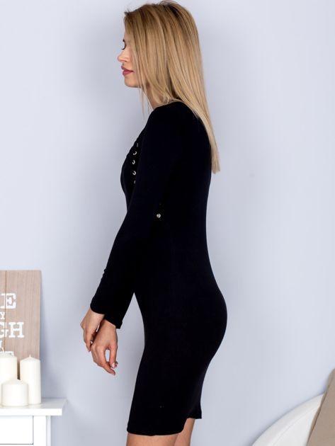 Sukienka z ozdobnym sznurowaniem czarna                                  zdj.                                  3