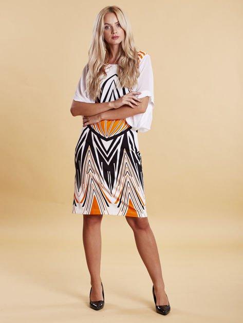 Sukienka z symetrycznym nadrukiem pomarańczowa                              zdj.                              4