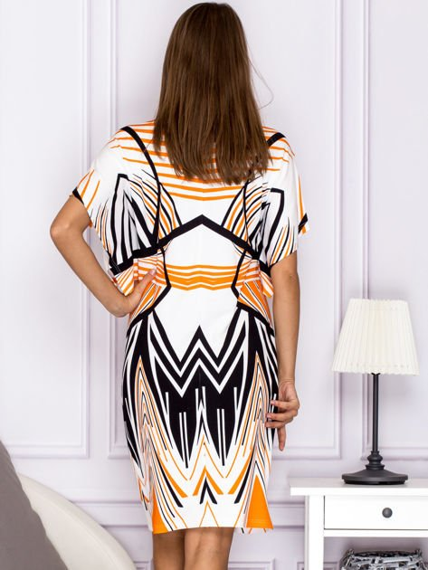 Sukienka z symetrycznym wzorem pomarańczowa                                  zdj.                                  2