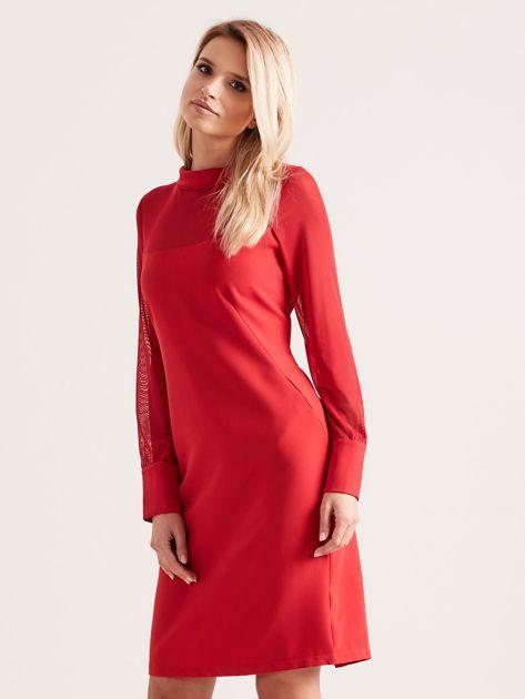 Sukienka ze stójką czerwona                               zdj.                              3