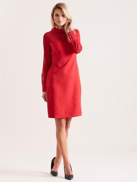 Sukienka ze stójką czerwona                               zdj.                              4