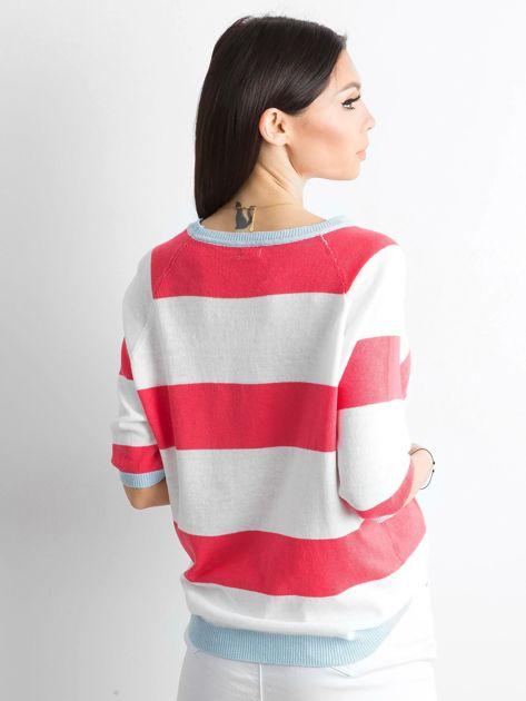 Sweter damski w paski koralowy                              zdj.                              2