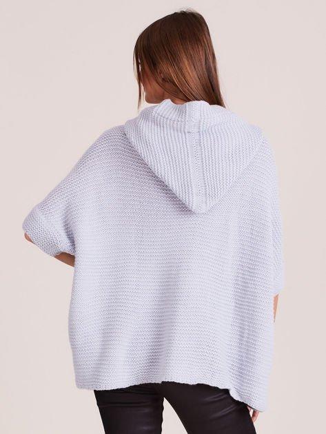 Sweter z kapturem i guzikami niebieski                              zdj.                              3