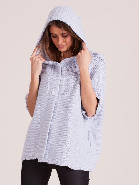 Sweter z kapturem i guzikami niebieski                              zdj.                              5