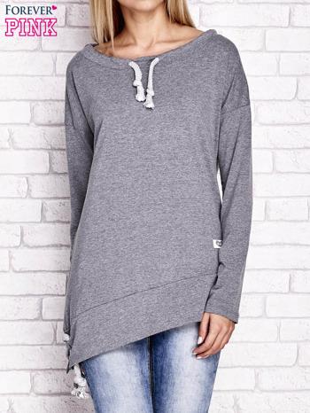 Szara asymetryczna bluza z troczkami                                  zdj.                                  1
