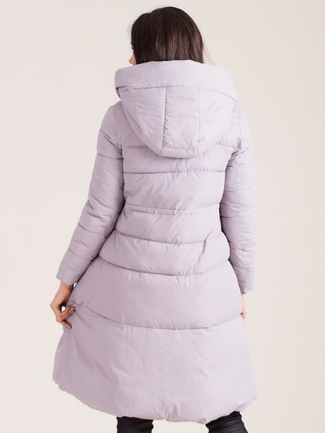 Szara asymetryczna kurtka zimowa                              zdj.                              2