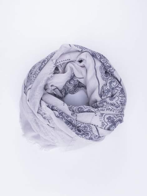 Szara bawełniana chustka w orientalny wzór                                  zdj.                                  2