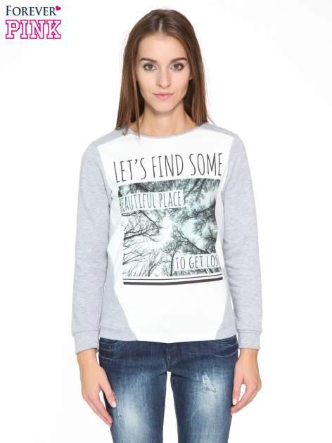 Szara bluza dresowa z nadrukiem LET'S FIND SOME BEAUTIFUL PLACE TO GET LOST                                  zdj.                                  1