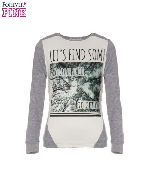 Szara bluza dresowa z nadrukiem LET'S FIND SOME BEAUTIFUL PLACE TO GET LOST                                  zdj.                                  5