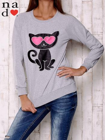 Szara bluza z aplikacją kota                                  zdj.                                  1