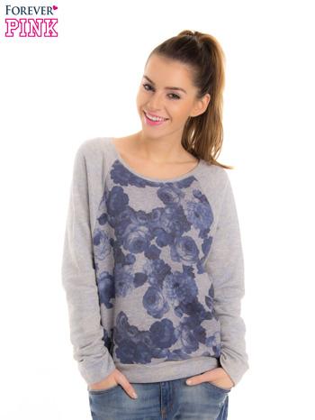 Szara bluza z floral printem i reglanowymi rękawami