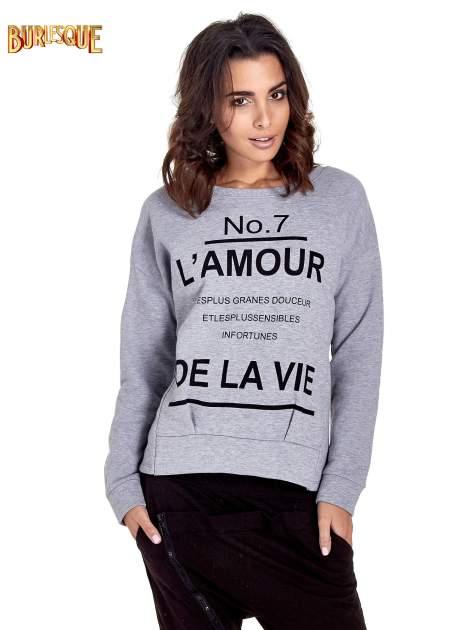 Szara bluza z francuskim napisem NO. 7 L'AMOUR                                  zdj.                                  1