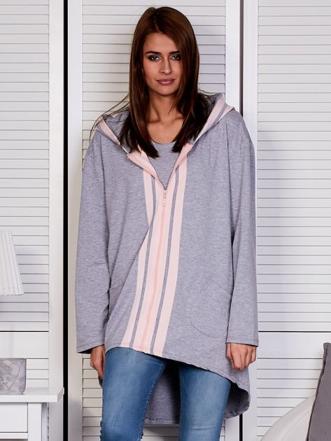 Szara bluza z kontrastowym suwakiem                               zdj.                              1
