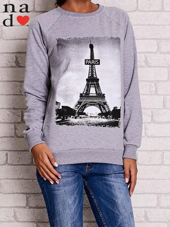 Szara bluza z motywem Wieży Eiffla                                  zdj.                                  1