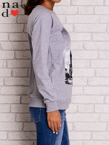 Szara bluza z motywem Wieży Eiffla                                  zdj.                                  3