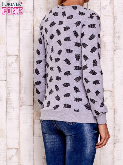 Szara bluza z motywem sów                                  zdj.                                  2