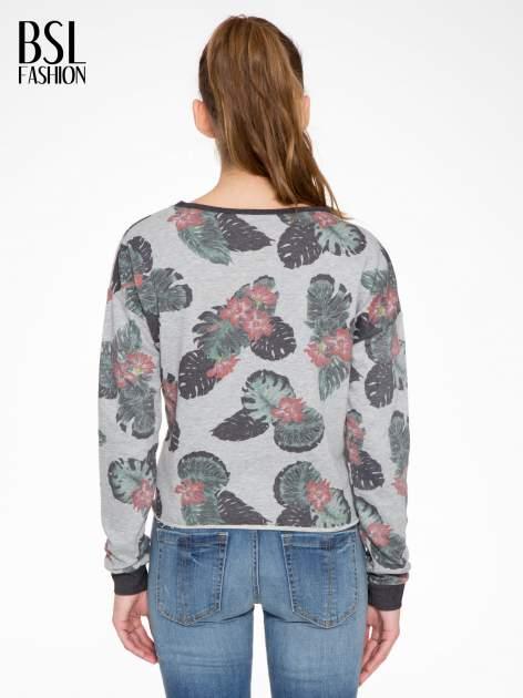 Szara bluza z nadrukiem floral print                                  zdj.                                  4