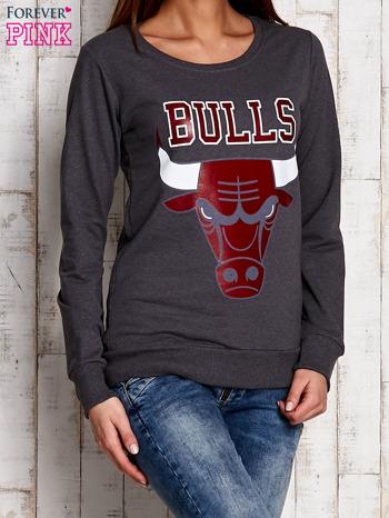 Szara bluza z napisem BULLS                                  zdj.                                  3