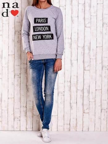 Szara bluza z napisem PARIS LONDON NEW YORK                                  zdj.                                  2