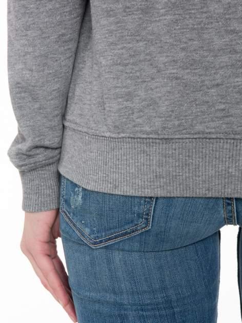 Szara bluza z reglanowymi rękawami i napisem w stylu city                                  zdj.                                  8