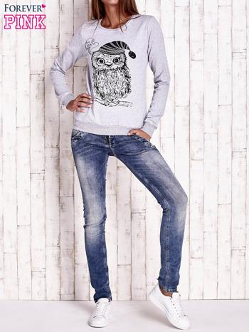 Szara bluza ze zwierzęcym nadrukiem                                  zdj.                                  2