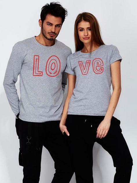 Szara bluzka męska z połówką napisu LOVE dla par                                  zdj.                                  3
