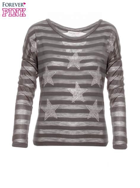 Szara bluzka w paski z nadrukiem gwiazd z dżetów                                  zdj.                                  4