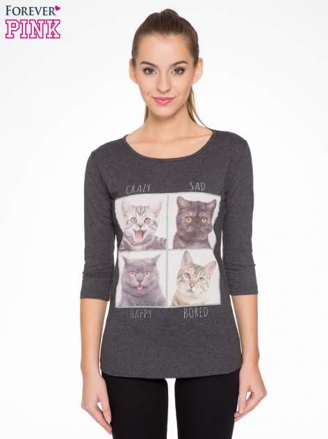 Szara bluzka z nadrukiem kotów                                  zdj.                                  1