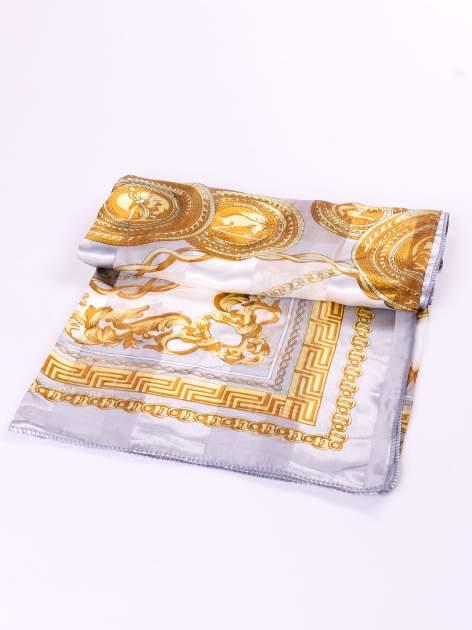 Szara chusta apaszka z nadrukiem biżuteryjnym                                  zdj.                                  3