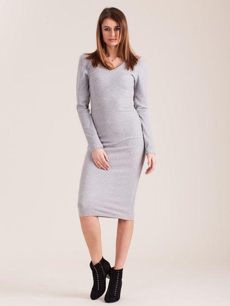Szara dopasowana sukienka cold shoulder                              zdj.                              4