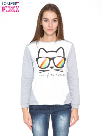 Szara dresowa bluza z kotem z motywem Instagrama